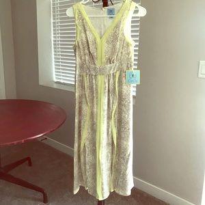 CeCe Snake Print Slit Dress w/ Yellow Detail